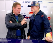 SPA, BELGIUM - AUGUST 22:  Max Verstappen of Netherlands, who will drive for Scuderia Toro Rosso next season, speaks with his father Jos Verstappen in the Scuderia Toro Rosso garage during practice ahead of the Belgian Grand Prix at Circuit de Spa-Francorchamps on August 22, 2014 in Spa, Belgium.  (Photo by Dan Istitene/Getty Images) *** Local Caption *** Max Verstappen;Jos Verstappen