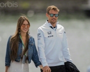 07 Jun 2015, Montreal, Quebec, Canada --- Jenson Button of McLaren Honda team arriving with his wife Jessica Michibata on race day at the Formula One World Championship, 2015 Canadian Grand Prix, Montreal, Canada. --- Image by © Christopher Morris/Corbis